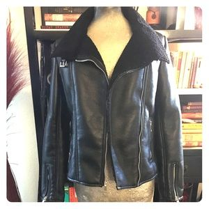 NWT black faux leather shearling motto jacket